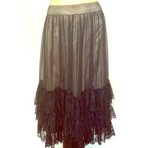 Tristan silk with black lace layers midi skirt